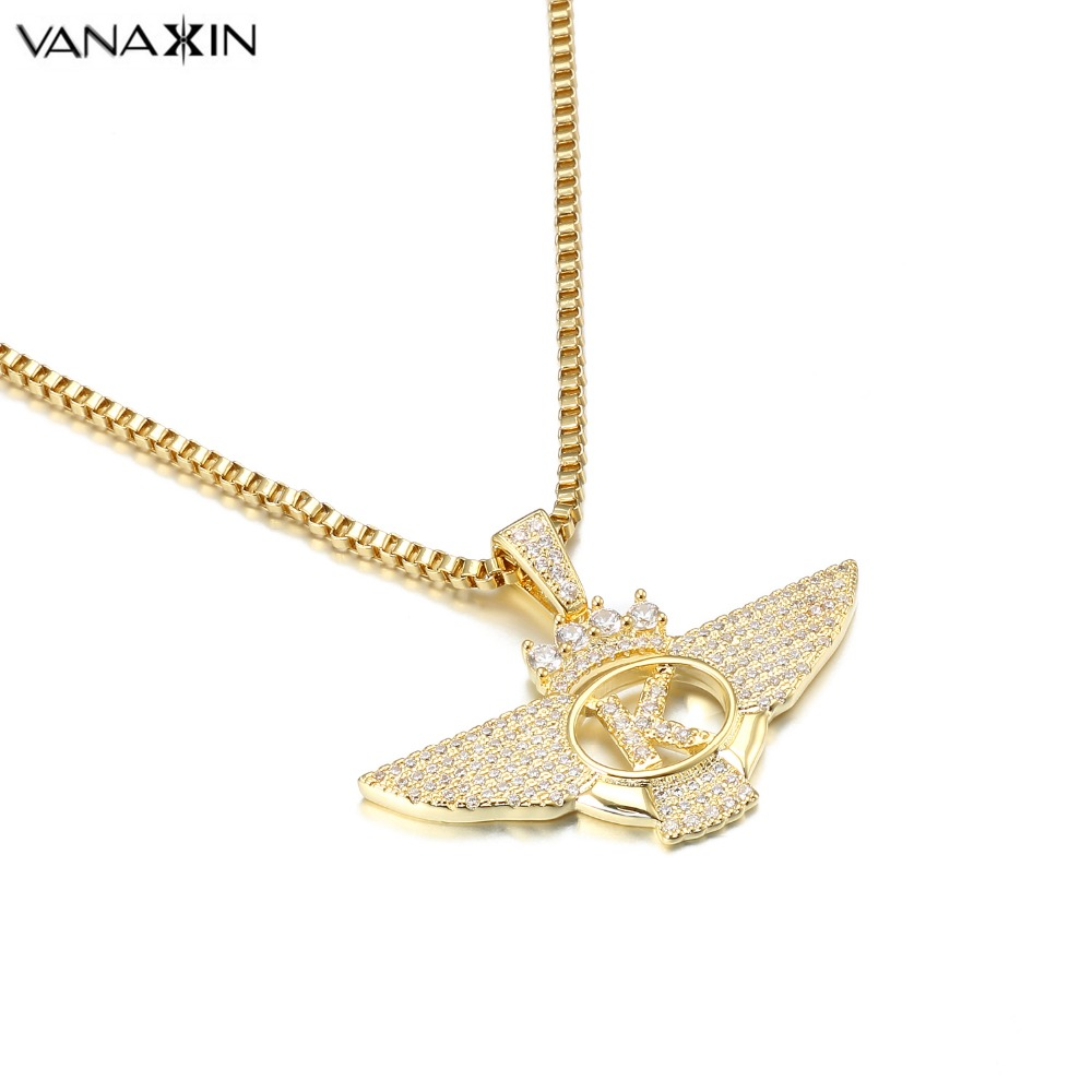 VANAXIN King Letter Wings Pendants&Necklaces Druzy Jewellery Gold/Silver Color Pendants Jewelry Making Brass AAA Paved CZ Gift