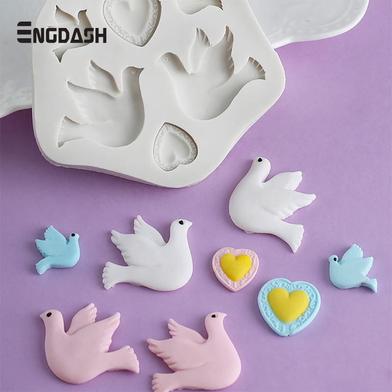 ENGDASH 3D Pigeon Bird Shape Silicone Mold Chocolate Fondant Mold Soft Clay Tool Candy Molds Cake Sugar Baking Tool High Quality