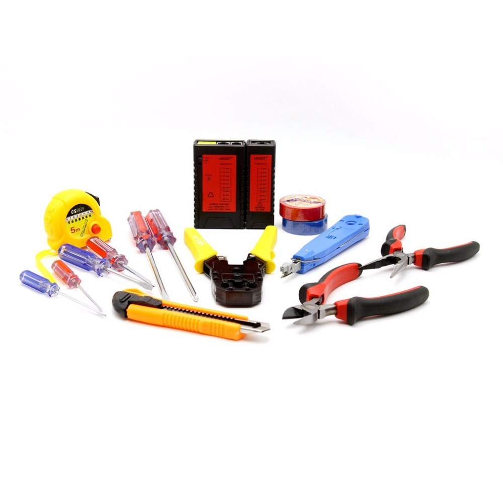 NF-1506 Network Repair Tool Kit Lan Cable Tester NF-468 Pliers Screwdrivers Punch Down Tool Crimping Tool Maintenance Tool Set wlxy 11 in 1 telecommunications maintenance diagnostic tools set ns 468 cable tester 3 way crimper tool cable stripper