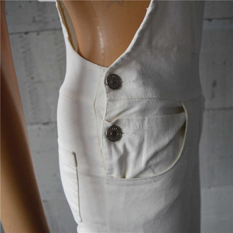 Для женщин комбинезон джинсовые комбинезоны осень мода кнопка карман Bodycon комбинезон с длинными штанинами зеленый белый одна деталь джинсы для