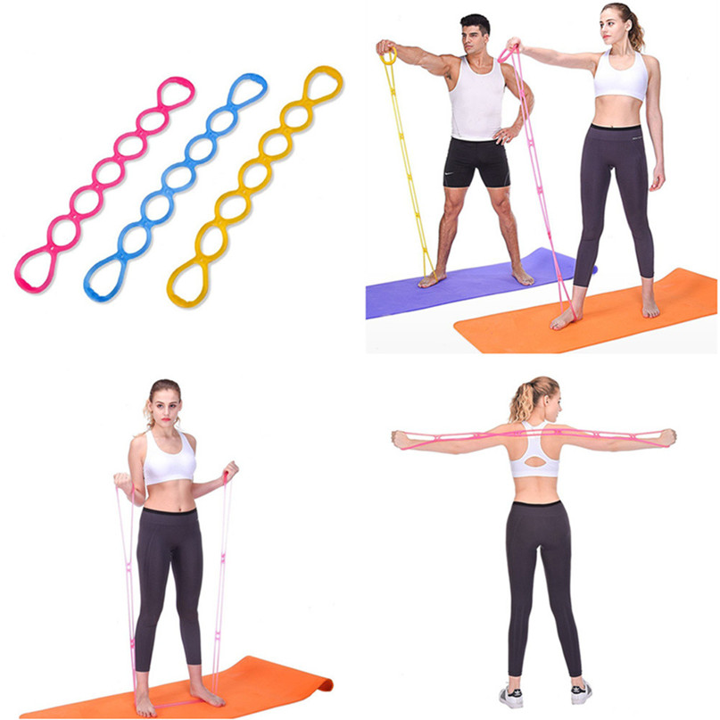 7 Holes Silicone Yoga Resistance Band Fitness Pull Rope Body Training Tools Gym Fitness Equipment #2P09 (1)