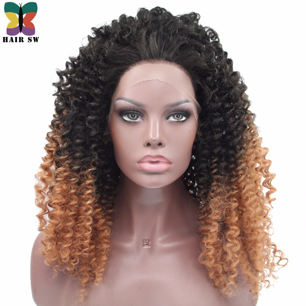 HAIR SW Long Kinky Curly Synthetic Lace Front Wig Off Afro Honey Blond Ombre Glueless Heat Resistant Fiber For Afro Women
