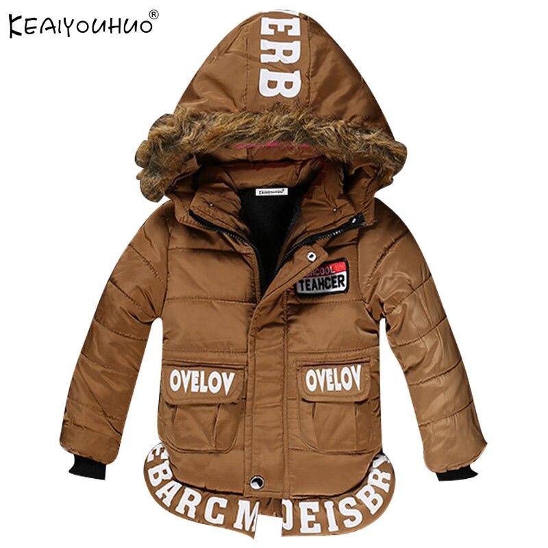 Keaiyouhuo 2017 зимнее пальто для мальчиков с капюшоном хлопок Пуховики и парки для мужчин для маленьких мальчиков одежда пальто с длинными рукава...