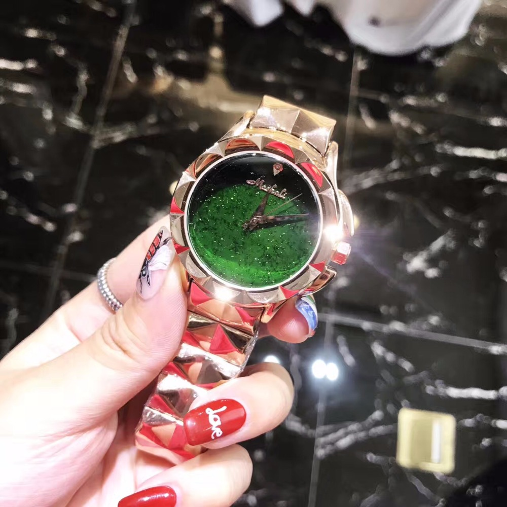 New Color Neutral Women Watches Pretty Gold Green Steel Wristwatch Heavy Metals Bracelet Watch Quartz Relogio Montre Femme W191New Color Neutral Women Watches Pretty Gold Green Steel Wristwatch Heavy Metals Bracelet Watch Quartz Relogio Montre Femme W191