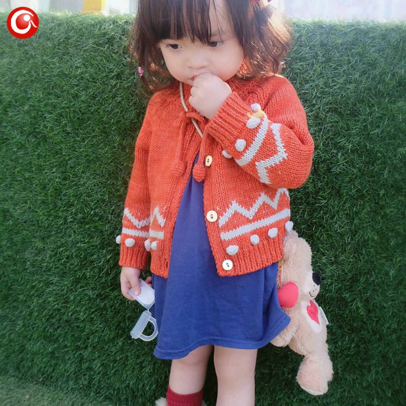 Children Girls Cardigan Orange Baby Boys Cotton Sweater Button Kids Warm Knitted Wear Clothes Crochet Coat Clothing 1-4Y (3)