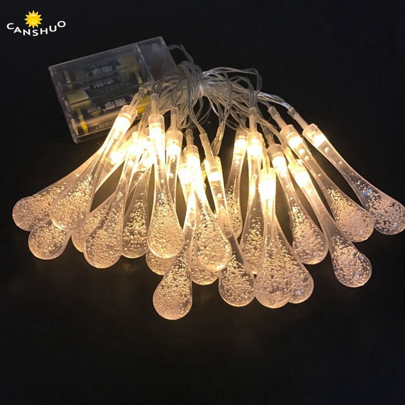 Lights & Lighting Helpful Waterdrop Shape String Light 20/30/40/50/80 Leds Christmas Wedding Party Decoration Aa Battery Waterproof Led Lamp 9 Colors