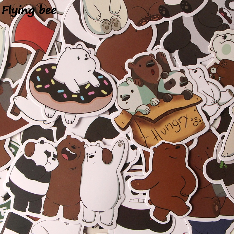 Image 5 - Flyingbee 37 Pcs We Bare Bears Graffiti Stickers for Kids DIY Luggage Laptop Skateboard Car Bicycle Waterproof Sticker X0293-in Stickers from Consumer Electronics