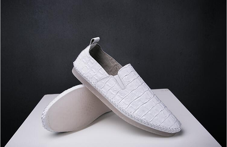 Slip-On Round toes Casual Shoes Men's Business Casual Loafer Male Flats shoe Mocassin homme Alligator Pattern Summer New Loafers