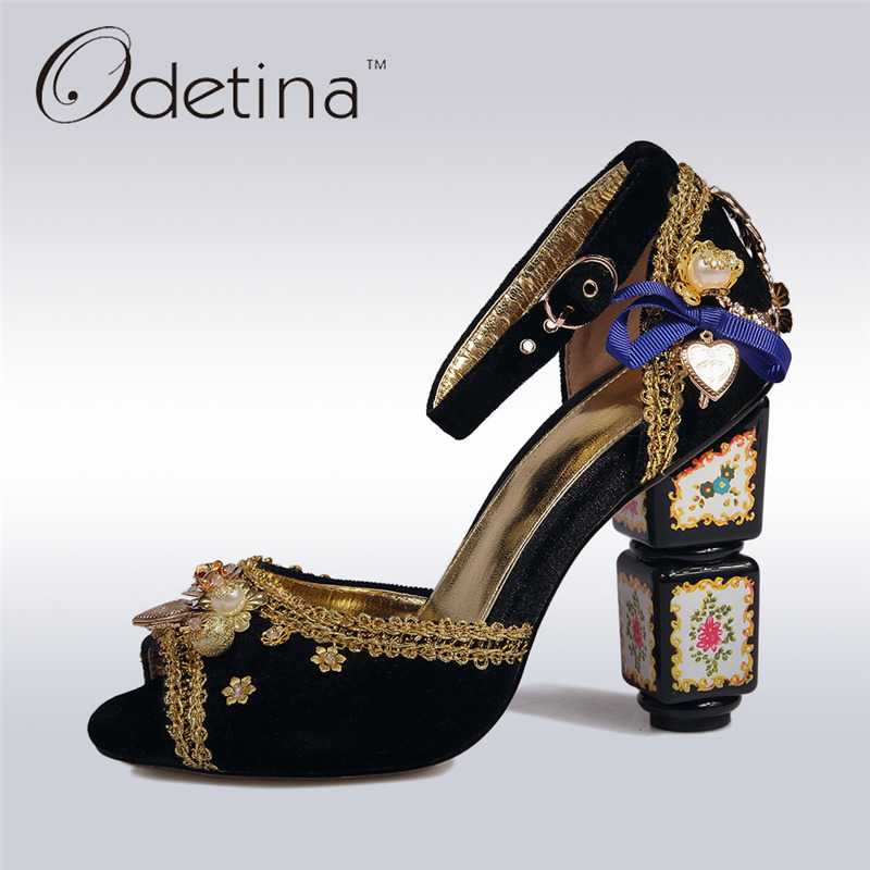 Odetina 2017 New Brand Luxury High Heels Peep Toe Women Pumps Flower Pearls Buckle Ankle Strap Pumps Fashion Wedding Party Shoes new vogue celebrity brand desiger women sandals stiletto feather hairy buckle strap high heels bridesmaid bridal wedding pumps