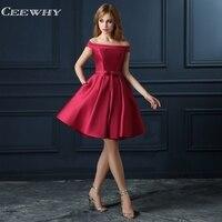 CEEWHY Off Shoulder Satin Dress Elegant Short Prom Dresses Burgundy Cocktail Dresses 2018 Knee Length Cocktail Dress Coctel