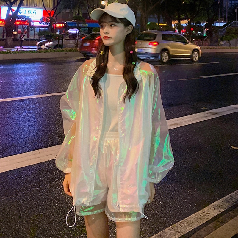 Harajuku Laser Suit Girl Two Piece Coat And Shorts Set  Two Piece Set Women Perspective Clothes Loose 2 Piece Set Women Outfits