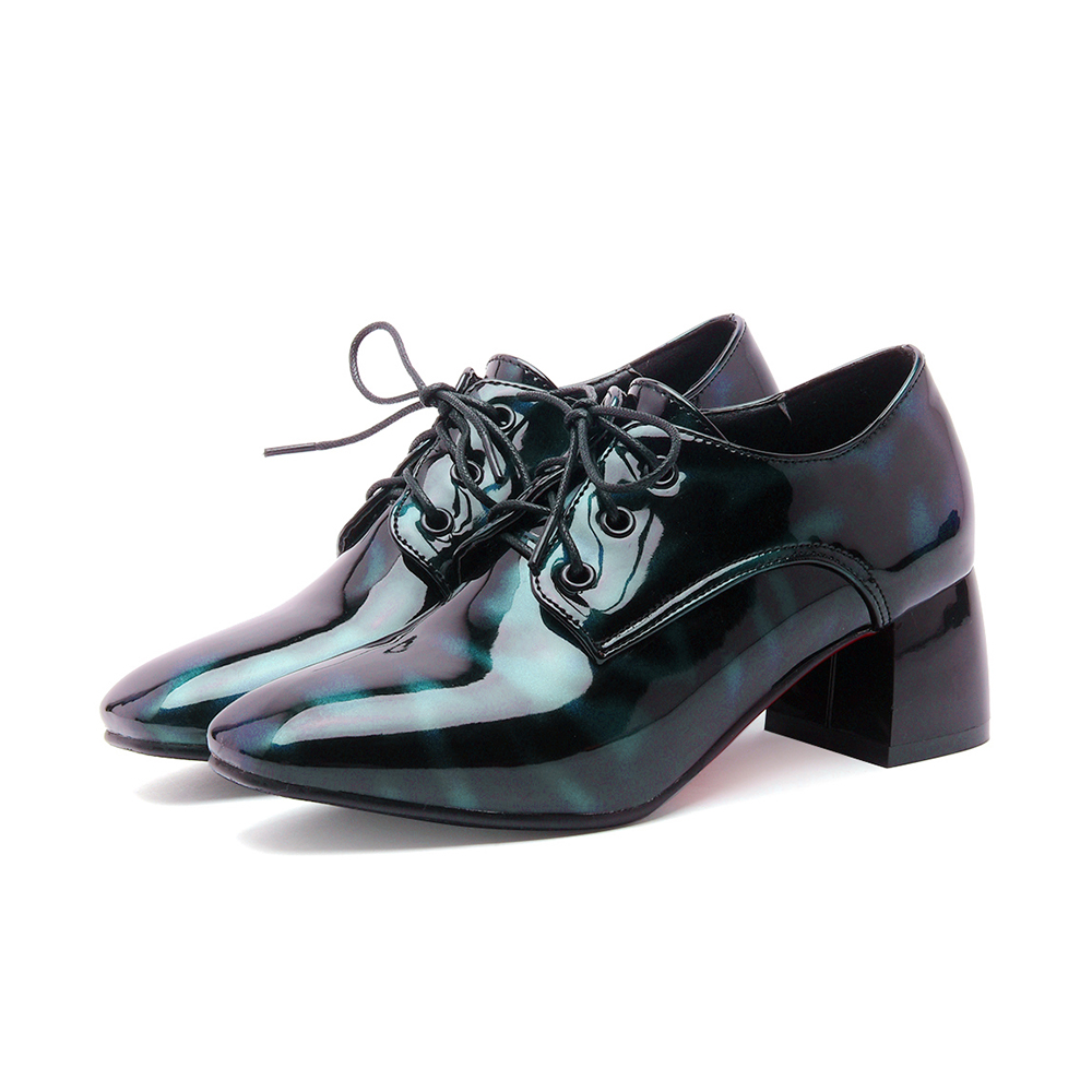 2017 New Sale Plus big  and Small size 31-48 Women shoes lace up Square Toe Patent Leather Spring Autumn Casual shoes Brogue 2-7 brand new hot sale blue red yellow black green glossy patent leather women nude flats ladies shoes av123 plus big size 49 10 13