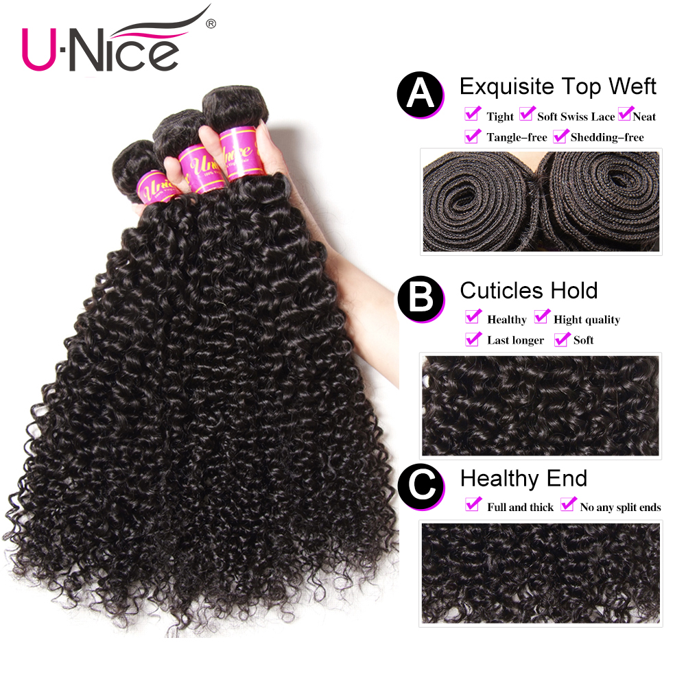 Image 4 - UNice Hair Curly Weave Human Hair With Closure 4/5PCS Brazilian Remy Hair Weave Bundles with Closure Swiss Lace Hair-in 3/4 Bundles with Closure from Hair Extensions & Wigs