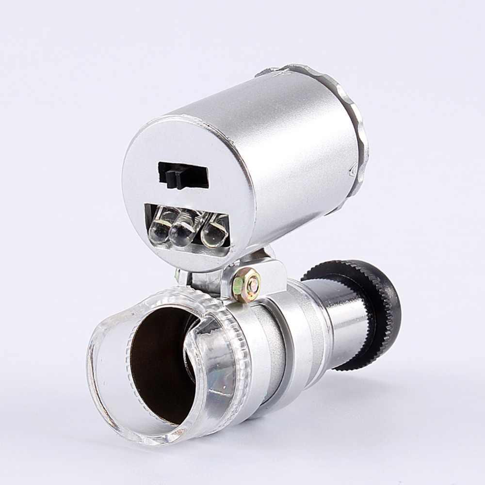 Mini 60X mikroskop powiększenie kieszonkowy obiektyw lupa do biżuterii lupa szkło led światło ultrafioletowe do kontroli diamentowej pieczęci itp