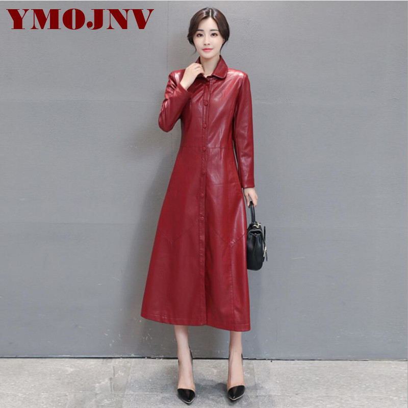 YMOJNV Fashion Black Lengthen Paragraph Large Size Fuax   Leather   Coat Women Turndown Collar Red PU   leather   Windbreaker Overcoat