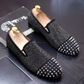 new fashion men wedding stage party nightclub dress genuine leather rivet shoes slip on driving shoe teenage personality loafers