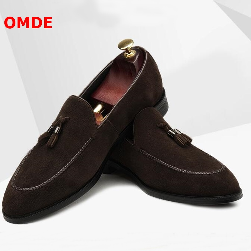 OMDE New Fashion Suede Tassel Loafers Men Pointed Toe Slip On Dress Shoes Handmade Business Casual