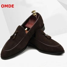 OMDE New Fashion Suede Tassel Loafers Men Pointed Toe Slip On Dress Shoes Handmade Business Casual Shoes Men's Slippers