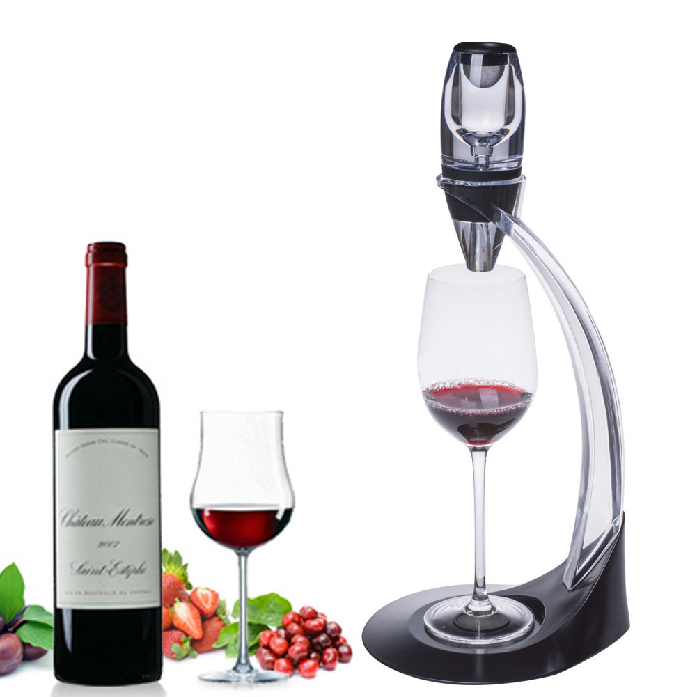 Professional Red Wine Decanter Pourer With Filter Stand Holder Vodka Quick Air Aerator For Home Dining Bar Essential Set PAK55