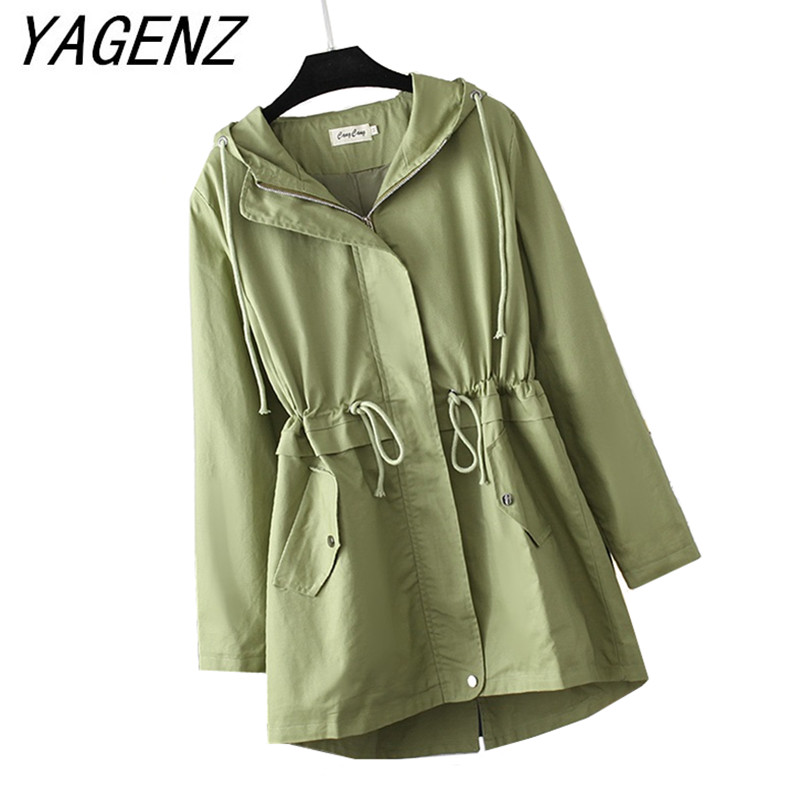 Fashion Loose Women   Trench   Coat Spring Autumn Medium long Drawstring Hooded Overcoat Solid Casual Female Long-sleeved   Trench   4XL
