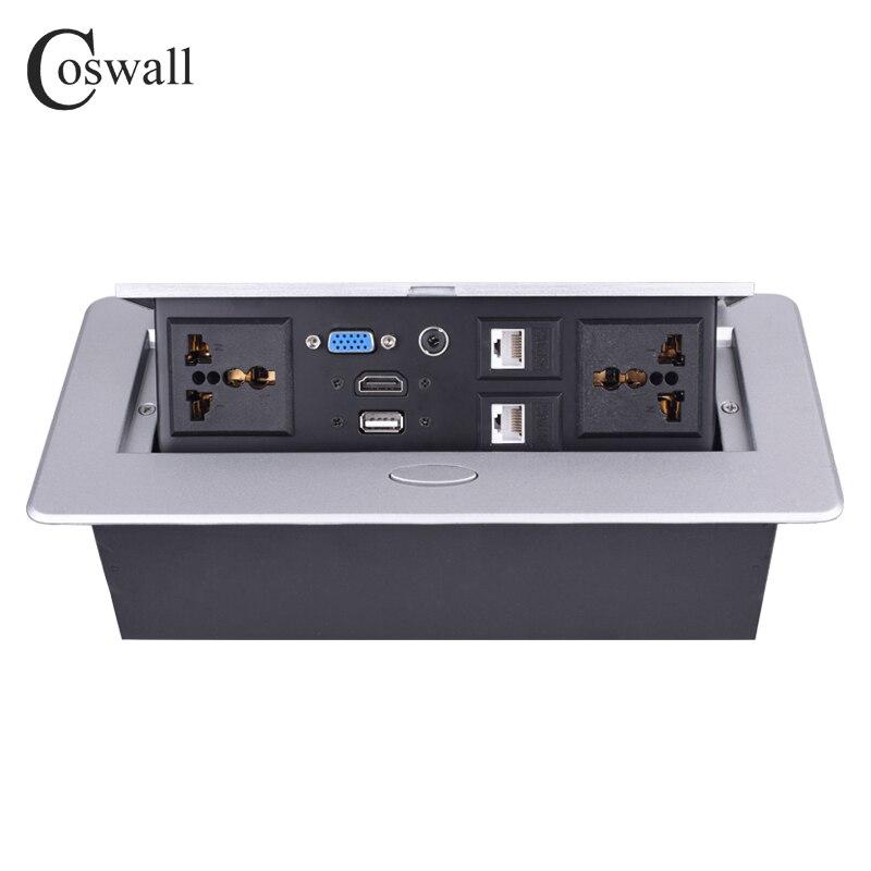 COSWALL métal corps lent POP UP caché 2 prise universelle de courant prise de Table double Port CAT6 RJ45 + HDMI + USB + VGA + 3.5mm Audio - 6