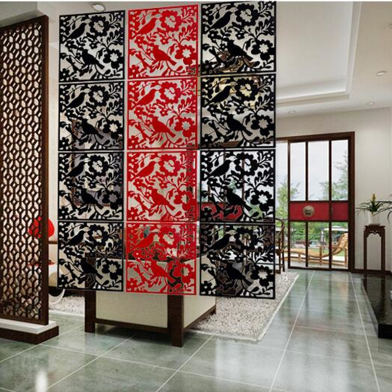 PVC Fashion Hanging Screen Partition Fashion Wall Stickers Chinese Style Cutout Home Screen Entranceway Door 4PCS