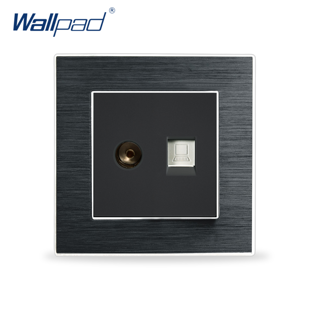 Computer & Television Socket Wallpad Luxury Satin Metal Panel Electric Wall TV & Data RJ45 Socket Electrical Outlets For Home
