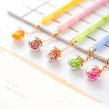 5 pcs/Lot Wish ball pendant gel pens Fruit & luminous 0.5mm roller ballpoint pen Signature writing gift office supplies FB190