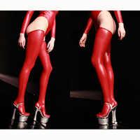 Plus Size Oberschenkel Hohe Shiny Sexy Strümpfe Schwarz Öl Wetlook Über Knie Strümpfe Leder Latex Medias Negras Chaussette Haute Rot