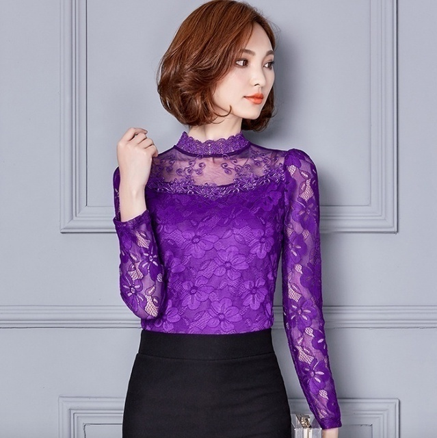 Women Sexy Hollow Out Lace Blouses Feminine Casual Blusas Shirt Long Sleeve Stand Collar Floral Tops Plus Size 5XL 5