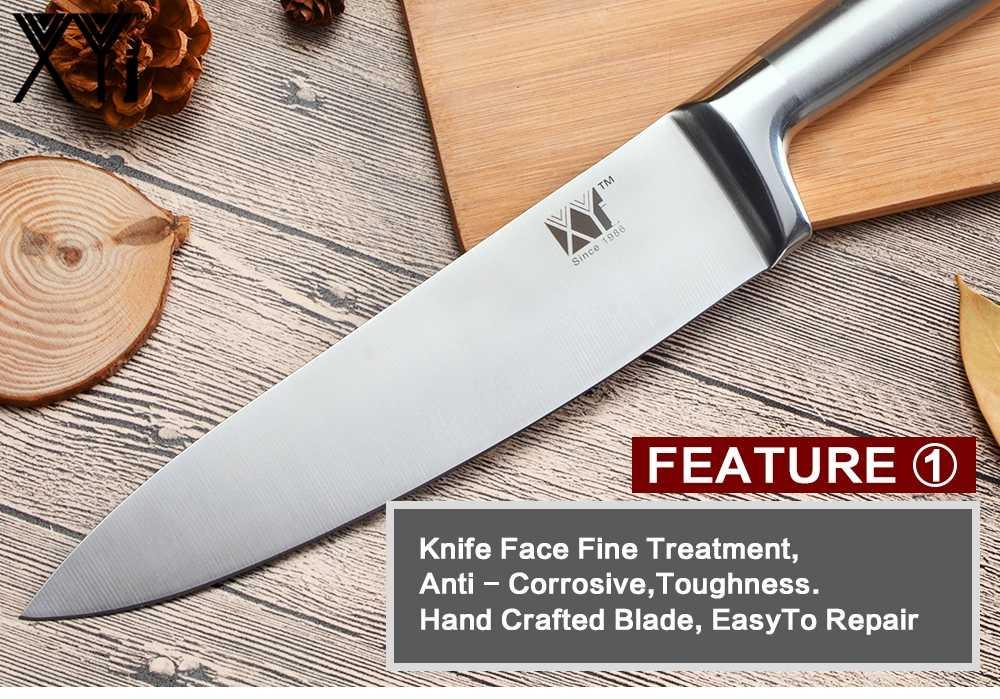 Xyj conjunto de facas de cozinha, conjunto de facas de chef de cozinha de aço inoxidável alemão, facas de corte, utilitário santoku, de pão, faca de cozinha afiada