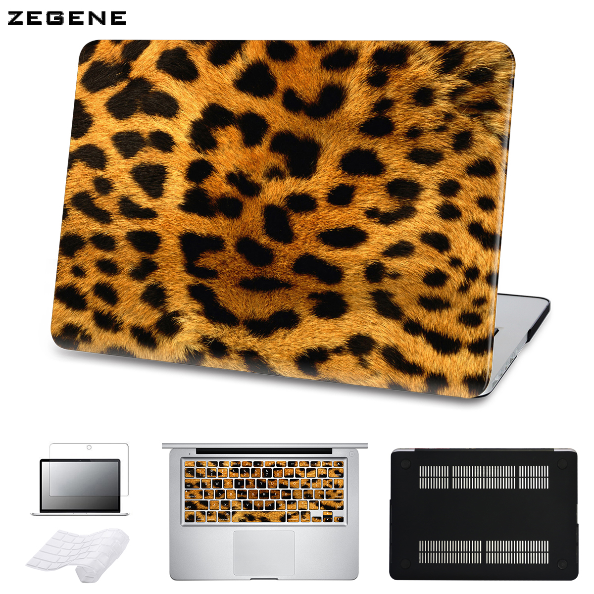 5 in 1 Bundle Leopard Cover Case For Apple Macbook Air Pro Retina 11 12 13 15 inch Hard Shell Laptop Bag With Keyboard Sticker 2017 newest hot sleeve case bag for macbook laptop air 11 12 13 pro retina 13 3 protecter wholesales drop free shipping