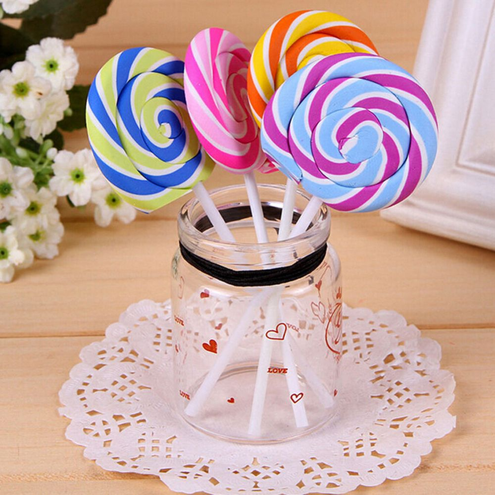 Cute Kawaii Cartoon Lollipop Rubber Erasers For Kids Lovely Creative Stationery Gift Wholesale Drop Shipping