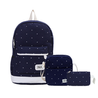 3Pcs Set Canvas Women Backpack Girls School Bags White Dot Backpack Women Zipper Big Capacity Travel