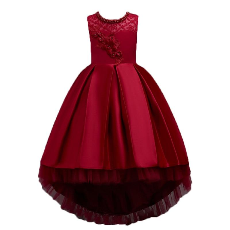 Girl Wedding Dresses 2018 summer Girls Princess flower lace Fishtail dress child Performance Party Dress Kids Girls Clothes