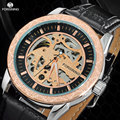 2017 forsining luxury sport relógios homens moda casual pulseira de couro de esqueleto auto mecânica relógios de pulso relogio masculino
