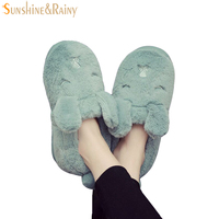 Family Slippers Winter Children Slippers Rabbit Ear Girls Boys Household Cotton Shoes Bedroom Warm Baby Slippers