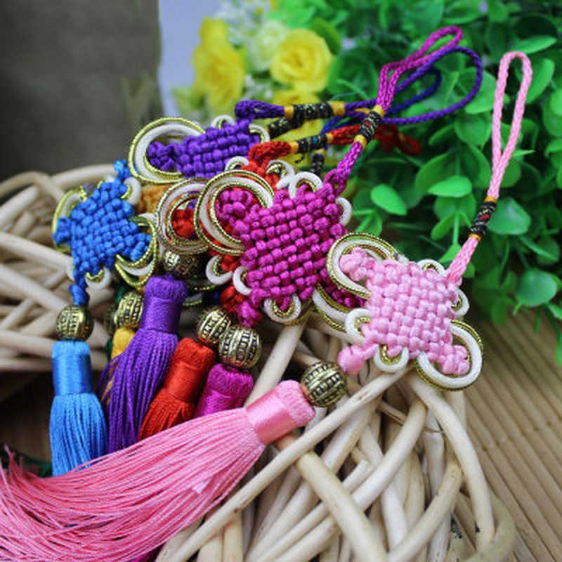 2 sztuk Tassel chiński Tassel Craft węzeł z frędzlami wisiorek rzemiosło dekoracji wnętrz chińskie cechy ozdoby prezent wisiorek