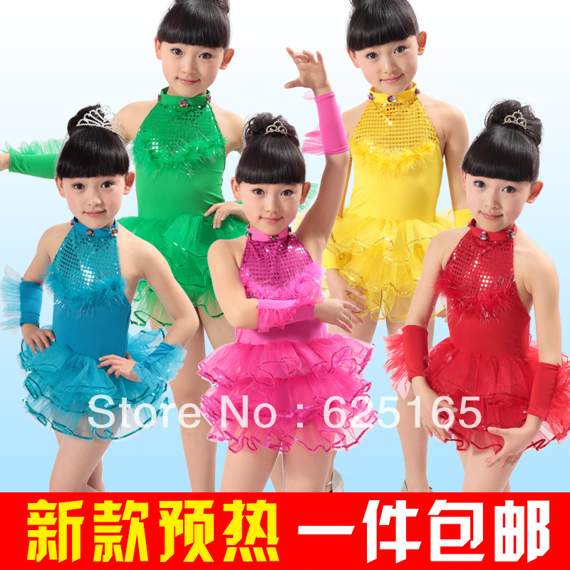 Free shipping Costume female child dance dress primary