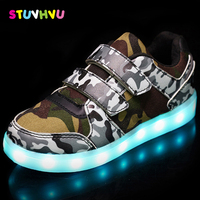 Girls LED Shoes Rechargeable USB Camouflage Style Sneakers With Light Up Kids Luminous Sneakers Children S