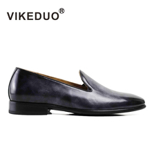 2017 font b Vikeduo b font Handmade Flat Men s Loafer Shoes Luxury Genuine Cow Leather