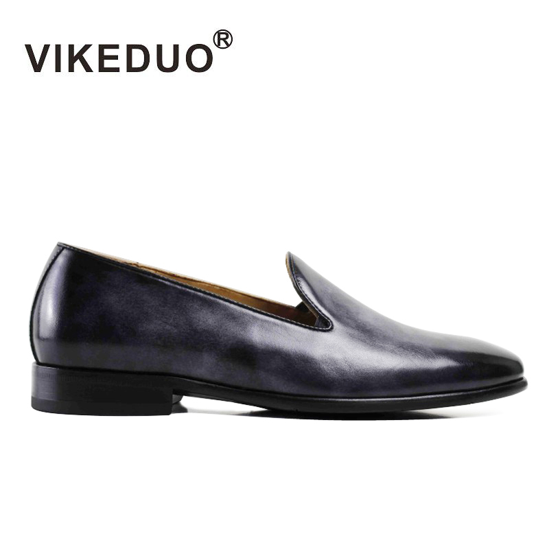 VIKEDUO Luxury Brand Vintage Fashion Mens Loafer Shoes Handmade Italian Casual Party Shoe 100% Genuine Leather Exclusive Design