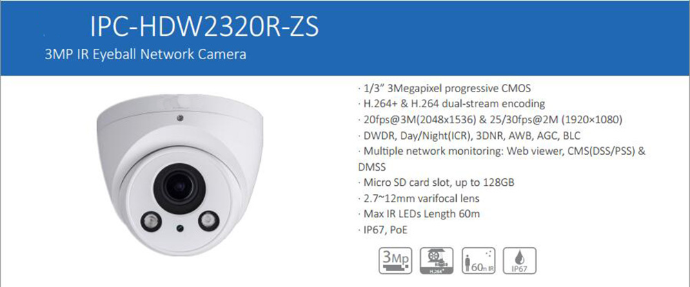 Free Shipping DAHUA IP Camera CCTV 3MP WDR Network Small IR CCTV Dome Camera with Motorized Lens without Logo IPC-HDW2320R-ZS dahua 2 7mm 12mm motorized lens 2mp wdr ir eyeball network camera ipc hdw5231r z free dhl shipping
