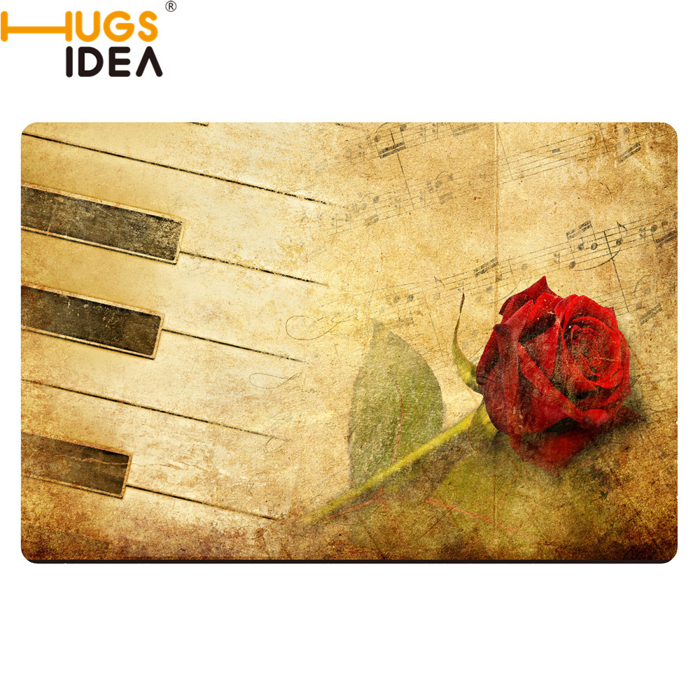 Vintage Rose With Music Note Carpets For Living Room Kids Baby Room Doormats Art Design Anti-slip Piano Rugs Floor Hall Mats Pad