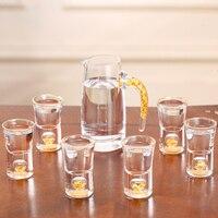 7 шт./компл. роскошный хрусталь рюмка бокал для вина с золотой фольги бокал для белого вина чашка ручной работы кувшин для вина Свадебные пит
