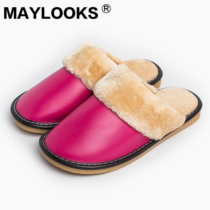 Női papucsok Téli pu bőrbőr vastag, plüss otthon beltéri csúszásmentes termikus nő papucsok Hot Sale Maylooks M-8813