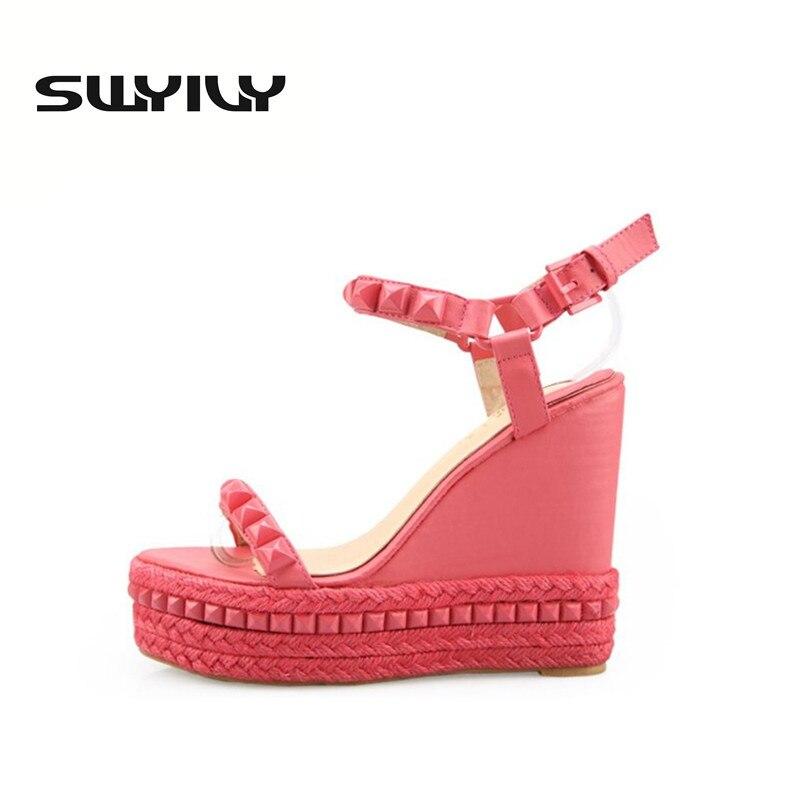 ФОТО Roman Sandals Summer High Heels Shoes Rivet Peep Toe Platform Wedges Sandals Women Small Size 33 34 Zapatos Mujer Plataforma