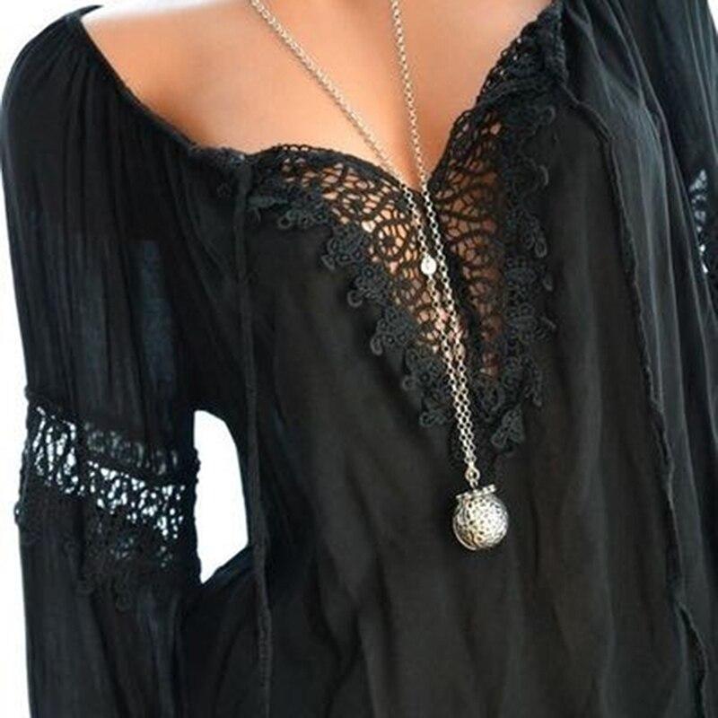 בתוספת גודל מזדמן V-צוואר ארוך שרוול חולצות 2019 חדש אביב נשים תחרה טלאי חולצה חולצה נשי טוניקת Blusas Mujer Bigsweety