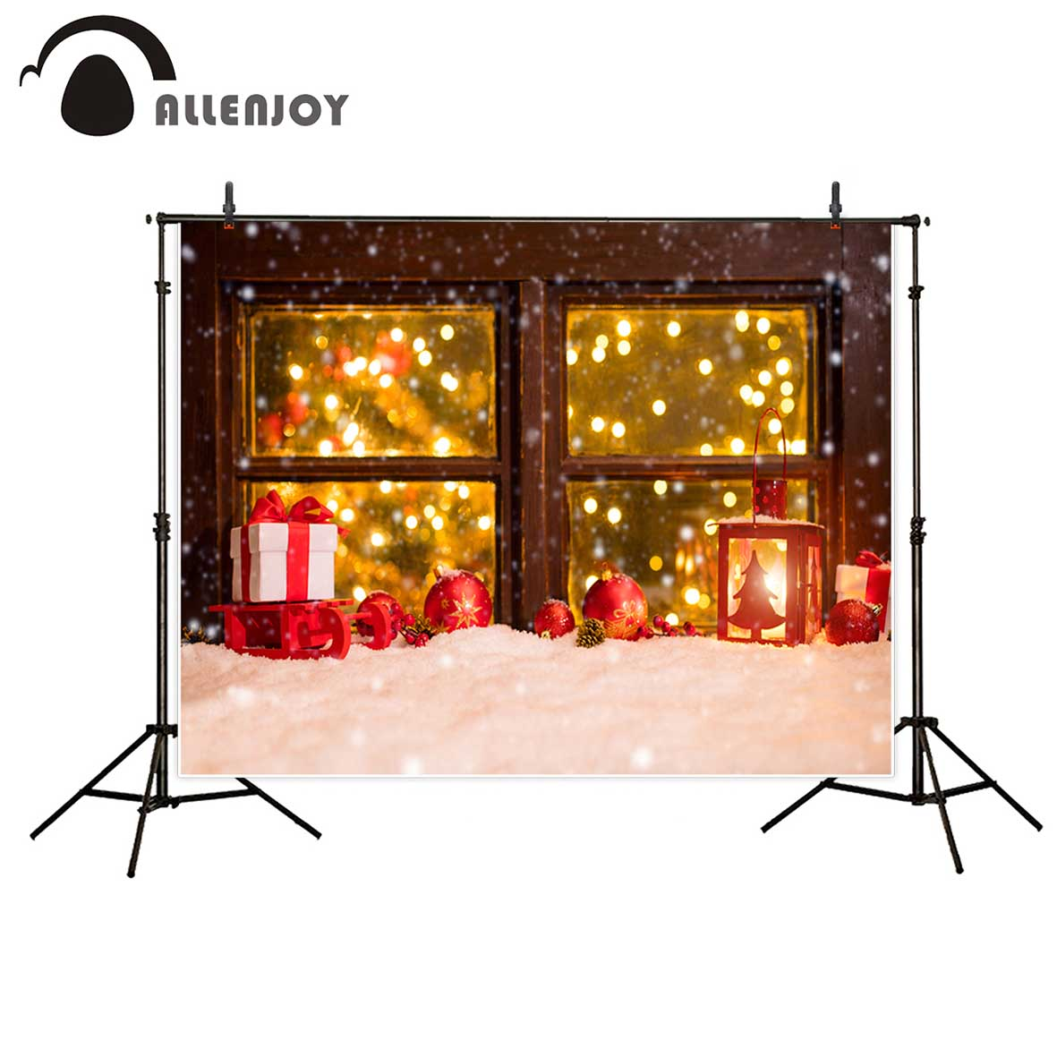Allenjoy photography background  Christmas wood window Snow winter gifts light red balls backdrop Photo background studio