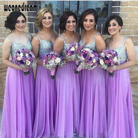 Bridesmaid dress long sequins wedding 2017 summer girl's clothes purple color floor length small strsps bench style for weddings